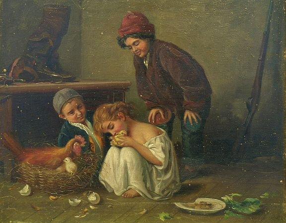 Антонио Ротта, «Новые друзья»,1881 г.
