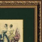 Старинная цветная гравюра, «La Mode» в раме (№35)