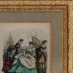 Мода 19-й век. Три дамы на фоне парусов.