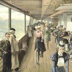Дамы на велосипедах на палубе